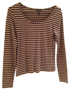 Escada Great With Jeans T Shirt Tan and black stripe