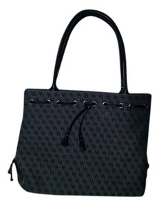 Dooney & Bourke Tote in Grey with black letters and straps