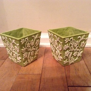 Crate & Barrel Lime Green and White Flower Pots Reception Decoration