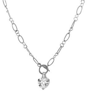 Unknown Silver Cable Figaro Chain Heart Clear CZ Toggle Necklace