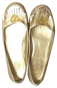 Coach Leather Metallic gold Flats