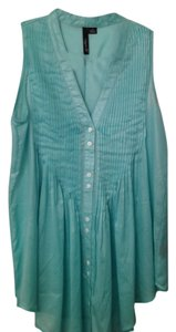 Aryn K Pleated Sheer V-neck Tunic Top Mint/Teal