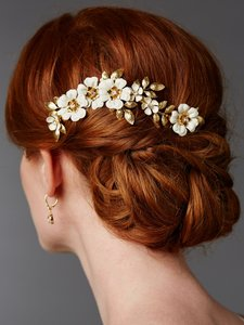 Hand Enameled Gold Tea Rose Bridal Comb