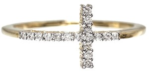 Jewelry Unlimited 10k Yellow Gold Ladies Sideways Cross Genuine Diamond Fashion Ring