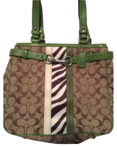 Coach Tote in Green and Beige