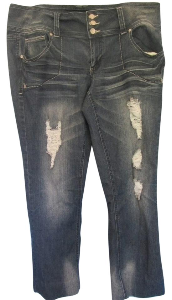 5ee4fc31275 Almost Famous Clothing Blue Denim Distressed Boot Cut Jeans Size 18 ...