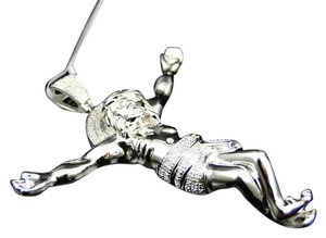 Jewelry Unlimited Mens White Gold Finish 2.75 Inch Diamond Jesus Piece Pendant Cross Charm 0.50 Ct