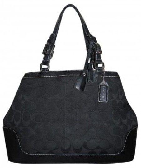 Preload https://item3.tradesy.com/images/coach-charming-classic-signature-pattern-with-leather-ac-black-shoulder-bag-7967-0-0.jpg?width=440&height=440