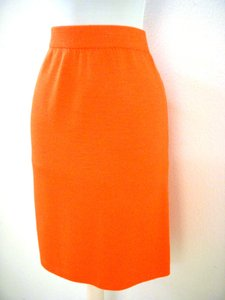 St. John Knit Designer Skirt Orange
