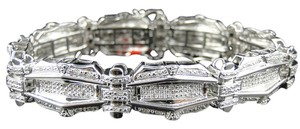 Jewelry Unlimited Mens Pave Set 14K White Gold Finish Round Cut Genuine Diamond Bracelet 1.35 Ct