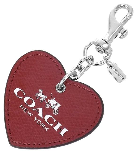 Item - Red/Silver Heart Leather Key Rings/Charms/Fob Tone F67041