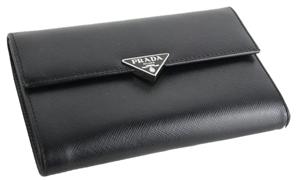 4c6eb232fbc6 Prada Black and Silver M510a Saffiano Leather Medium Wallet - Tradesy