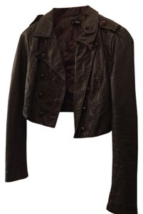 bebe Dark brown with brass buttons Leather Jacket