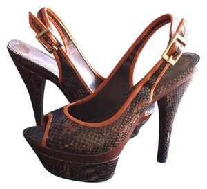 Vince Camuto Slingback Python Peep Toe Orange Brown Platforms