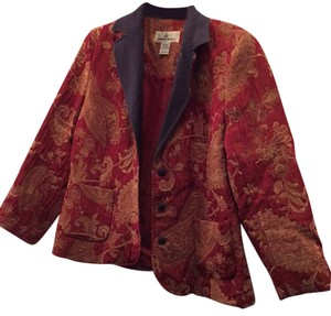 Erin London Red rust and golden paisleys Womens Jean Jacket
