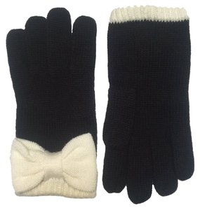 Kate Spade Kate Spade Black Knit Gloves with Cream Bow