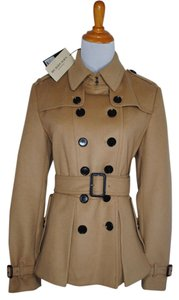 Burberry London Tan Trench Jacket Belted Wool Cashmere Nwt New 12 46 L Large Pleated Fall Winter Nova Check Pea Coat