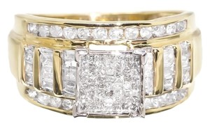 Jewelry Unlimited Yellow Gold Ladies Princess Round Baguette Diamond Engagement Wedding Ring 1ct