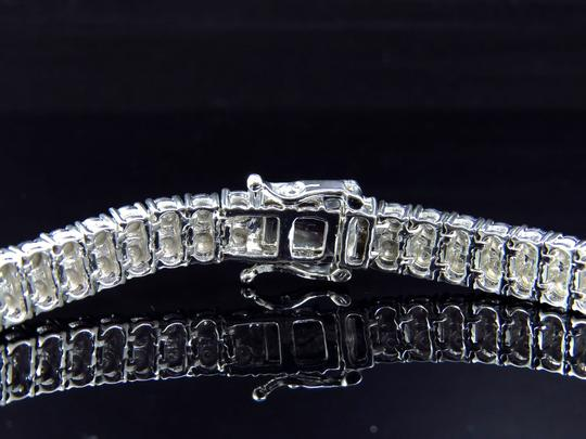 Jewelry Unlimited Mens Ladies White Gold Finish Round Cut Real 2 Row 7 MM Diamond Bracelet 8 Inch