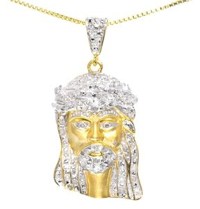 Jewelry Unlimited 10k Yellow Gold Mens Ladies 1.25 Genuine Diamond Mini Jesus Pendant Charm 0.50 Ct