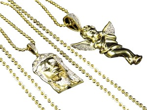 Jewelry Unlimited Genuine Diamond Jesus & Angel Cherub Pendant & Chain Combo In Yellow Gold Finish