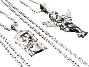 Jewelry Unlimited Genuine Diamond Jesus & Angel Cherub Pendant & Chain Combo In White Gold Finish
