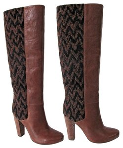 Anthropologie Chevron Leather Tall Vintage Brown Boots
