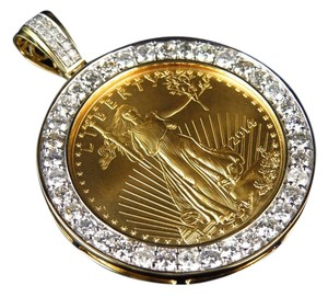 Jewelry Unlimited 24 K Solid Yellow Gold Lady Liberty Half 1/2 Ounce Custom Diamond Pendant 3.5 Ct