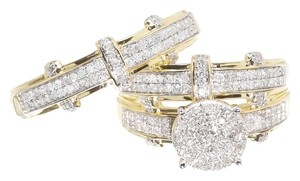 Jewelry Unlimited 10K Yellow Gold Round Pave Diamond Engagement Bridal Wedding Ring Trio Set .85ct