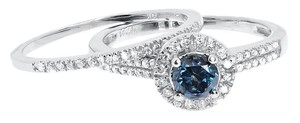 Jewelry Unlimited 14k White Gold Round Blue Diamond Solitaire Halo Bridal Wedding Ring Set 0.93ct