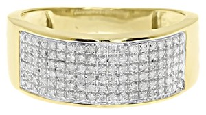 Jewelry Unlimited 10k Yellow Gold Mens Pave Round Diamond 9mm Wedding Fashion Band Ring 0.50 Ct