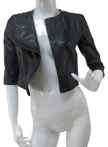 Bod & Christensen Cropped Biker Moto black Leather Jacket