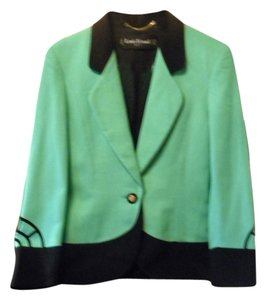 Louis Feraud Louis Feraud Mint Green Jacket with black trim and unique design on sleeves
