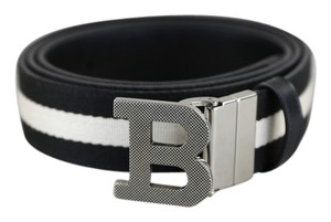 Bally * Bally B Canvas Black Stripe Belt - Size 46