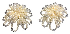 Other Austrian Crystal & Faux Pearl Earrings (Clip) by Baroness de Cobelli [ Roxanne Anjou Closet ]