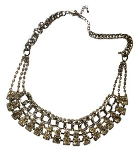 Silver Tone Glass Crystal Choker Statement Necklace