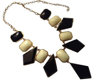 Gold Tone, Black White Statement Necklace