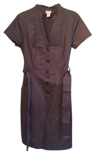 H&M Grey Button Front Pleated Detail Knee Length Form Fitting Dress