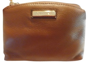 Calvin Klein CK Calvin Klein leather makeup cosmetic bag BROWN new with tag