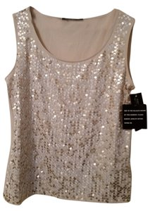 INC International Concepts Marina Rinaldi By Maxmara Asiak Gray Sequin Embellished Tank Top Gold white