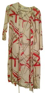 white with red and tan Maxi Dress by Henri Bendel