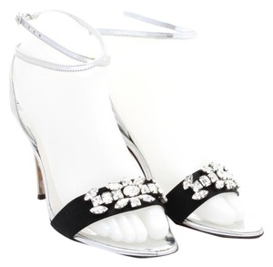 Giuseppe Zanotti Stiletto Leather Dustbag Silver and Black with Rhinestones Sandals