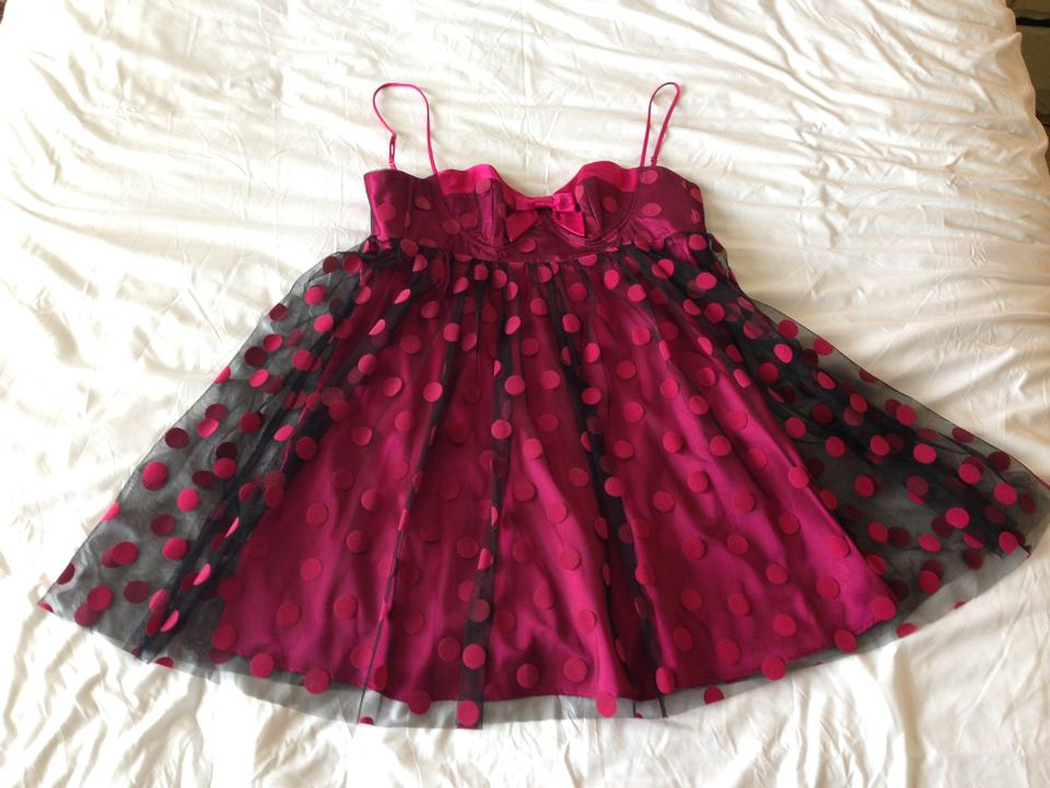 Betsey Johnson Cocktail Dress Hot Pink Knee f