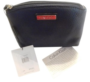 Calvin Klein CK Calvin Klein leather makeup cosmetic bag BLUE new with tag