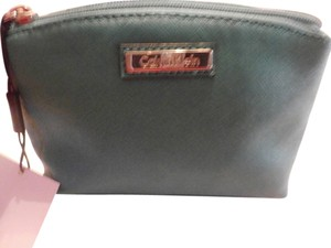 Calvin Klein CK Calvin Klein SAFIANO leather makeup cosmetic bagGREEN new with tag