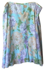 Saks Fifth Avenue 100% Silk Skirt Light Blue Floral