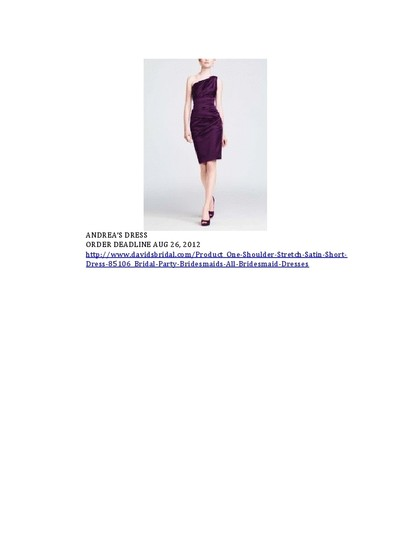 David's Bridal Purple Satin 85106 Feminine Bridesmaid/Mob Dress Size 6 (S)