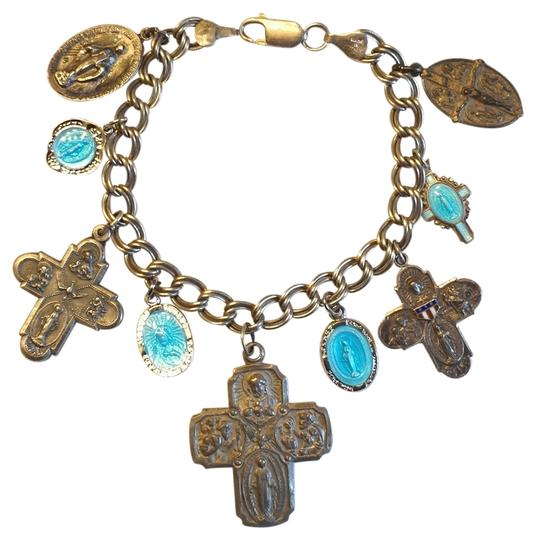 Preload https://item3.tradesy.com/images/sterling-silver-and-blue-enamel-religious-guilloche-medal-4-way-cross-charm-bracelet-797577-0-0.jpg?width=440&height=440