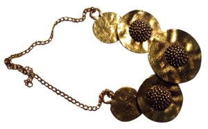 Antique Gold Metal Disks Statement Necklace