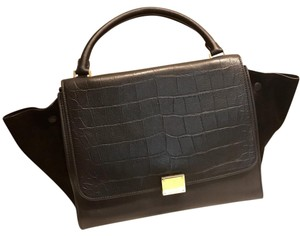 Céline Trapeze Celine Leather Tote in Black